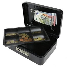 Geldkassette mit Zahlenschloss, 25 x 18 x 9 cm , schwarz
