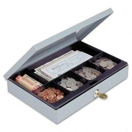Schwere Stahl Low-Profile Cash Box w/6Fächer, Schloss und Schlüssel, grau - 1