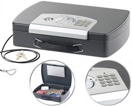 Xcase Kasse: Geld- & Dokumentenkassette, Stahl, Elektronik-Schloss, A4, Stahlkabel (Geldkassette) - 1